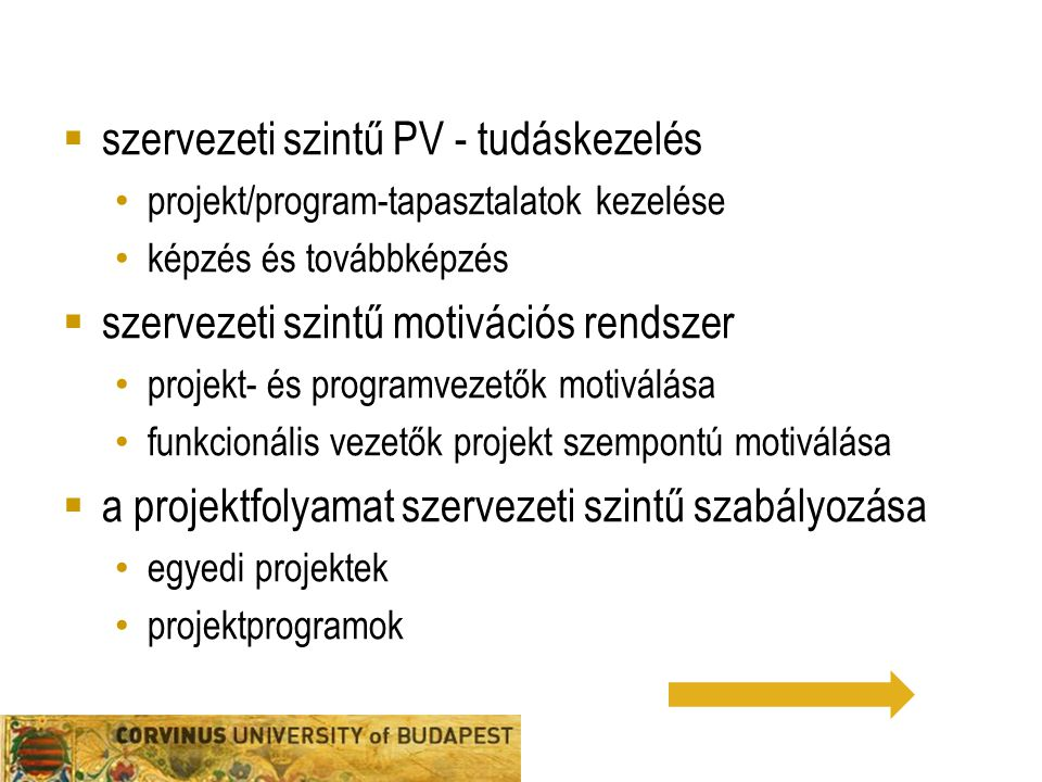 szervezeti szintű PV - tudáskezelés