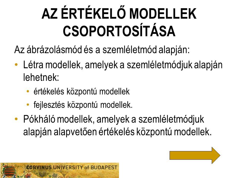 Az értékelő modellek csoportosítása