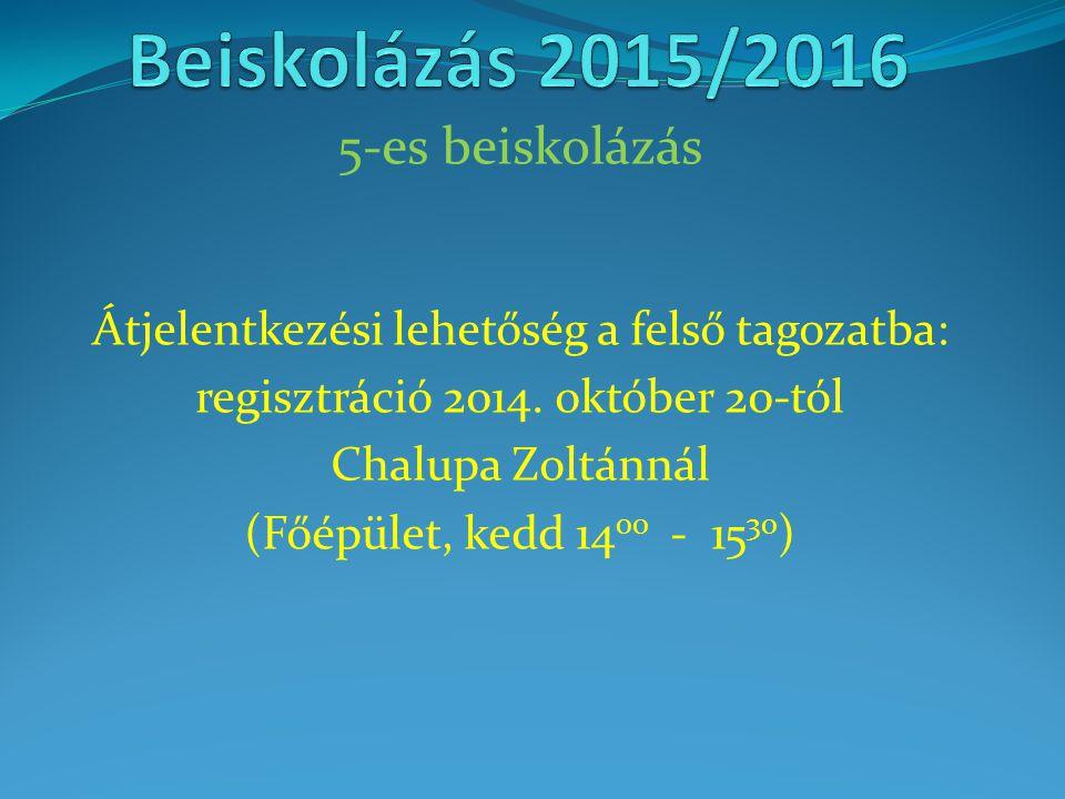 Beiskolázás 2015/2016 5-es beiskolázás