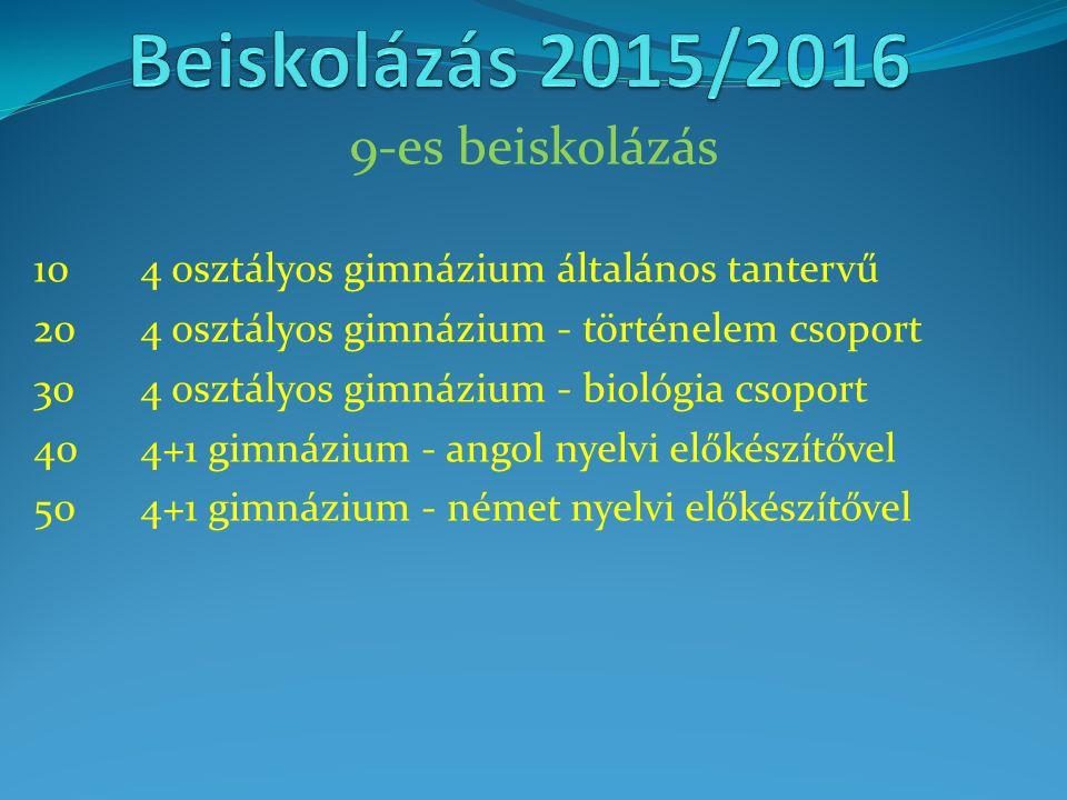 Beiskolázás 2015/2016 9-es beiskolázás
