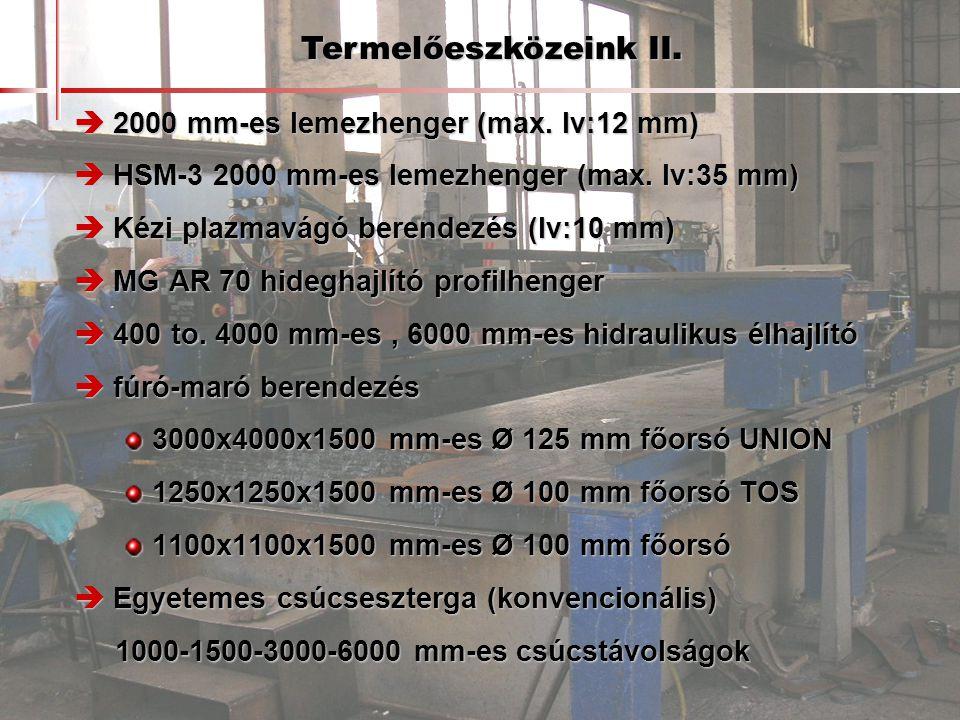 Termelőeszközeink II.  2000 mm-es lemezhenger (max. lv:12 mm)