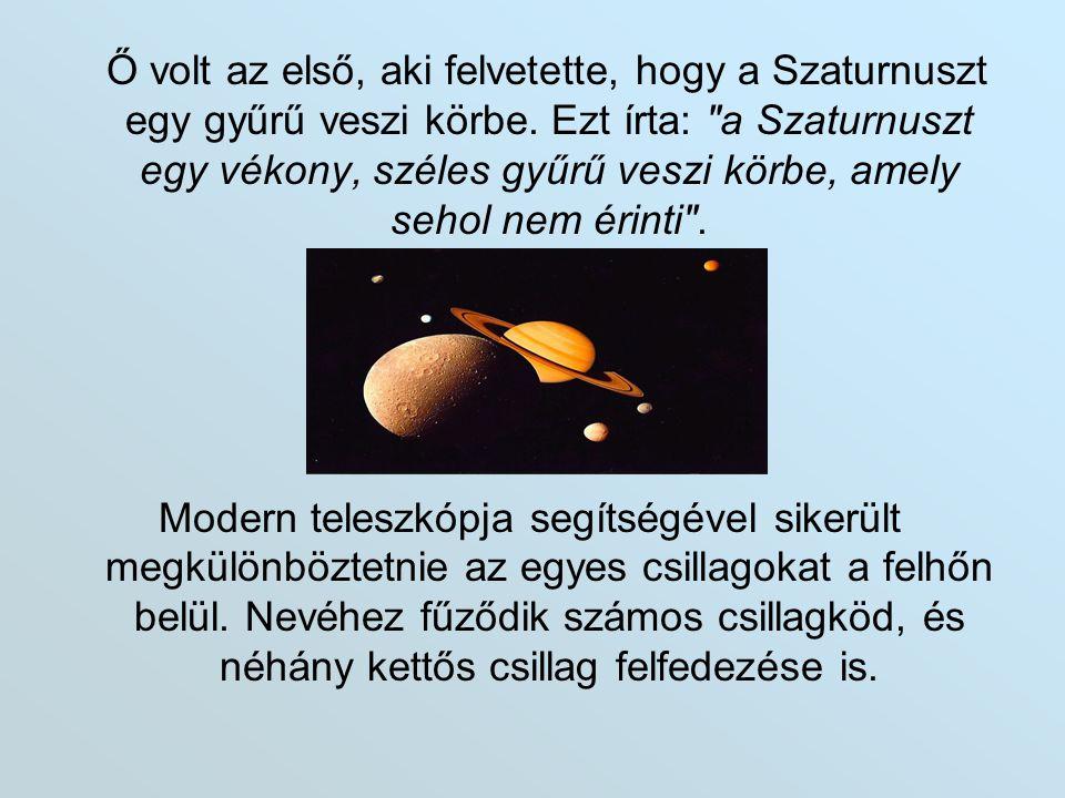 Ő volt az első, aki felvetette, hogy a Szaturnuszt egy gyűrű veszi körbe. Ezt írta: a Szaturnuszt egy vékony, széles gyűrű veszi körbe, amely sehol nem érinti .
