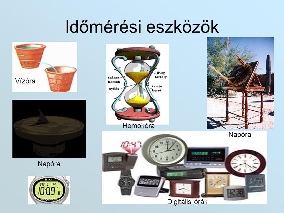 Időmérési eszközök Vízóra Homokóra Napóra Napóra Digitális órák