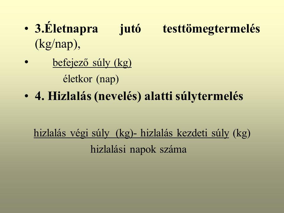 3.Életnapra jutó testtömegtermelés (kg/nap), befejező súly (kg)