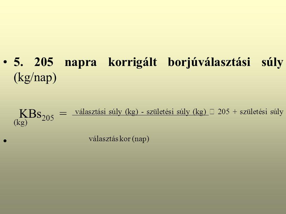 5. 205 napra korrigált borjúválasztási súly (kg/nap)
