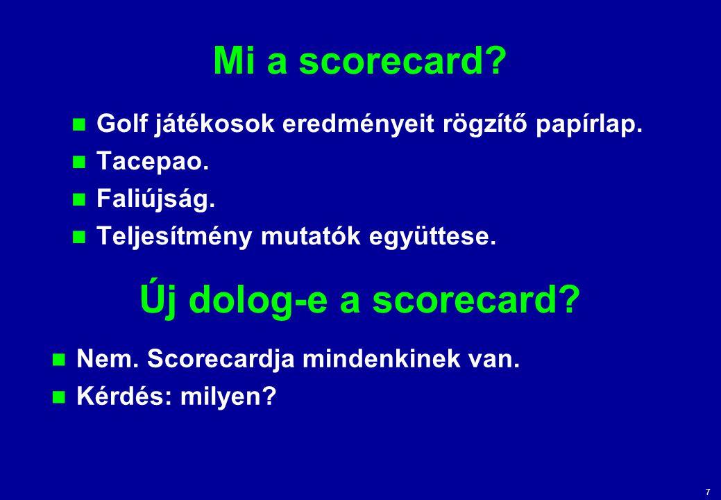 Mi a scorecard Új dolog-e a scorecard