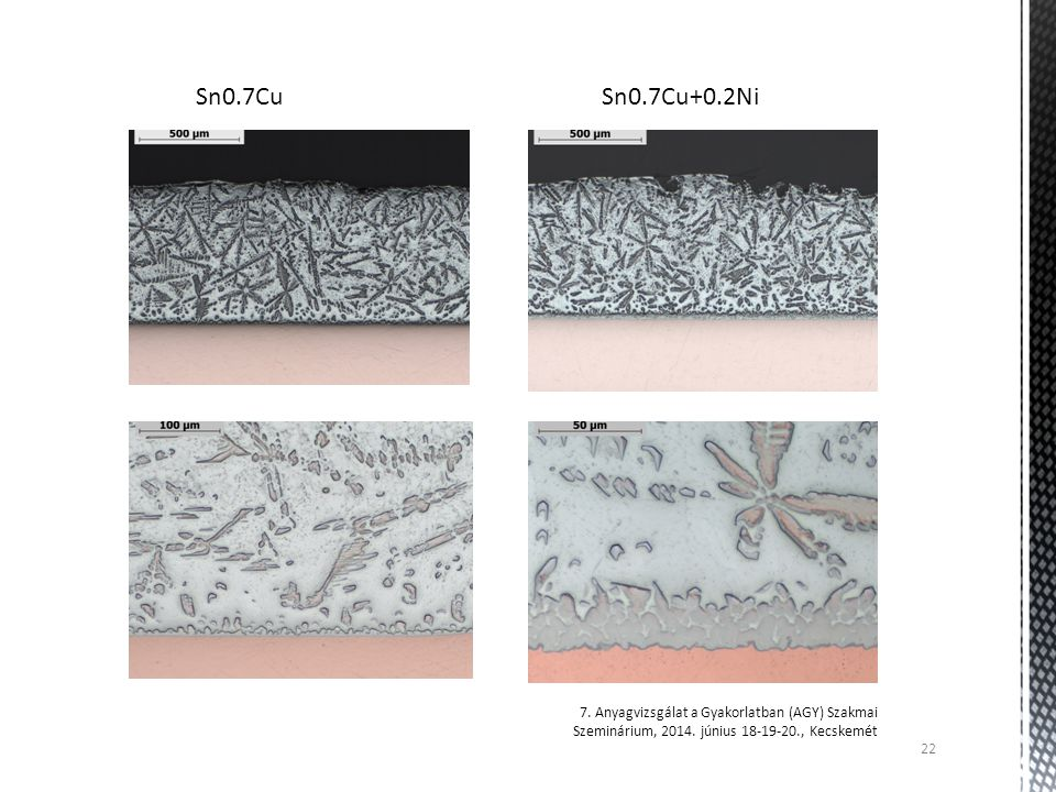 Sn0.7Cu Sn0.7Cu+0.2Ni. 7. Anyagvizsgálat a Gyakorlatban (AGY) Szakmai Szeminárium, 2014.