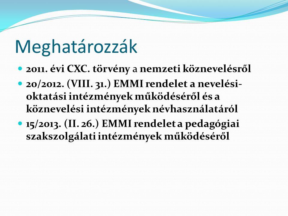 Meghatározzák 2011. évi CXC. törvény a nemzeti köznevelésről