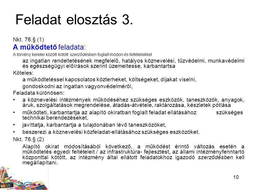 Feladat elosztás 3. A működtető feladata: Nkt. 76.§ (1)