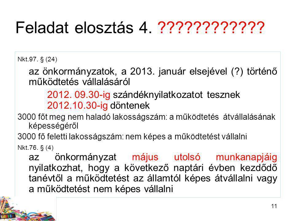 Feladat elosztás 4. Nkt.97. § (24) az önkormányzatok, a 2013. január elsejével ( ) történő működtetés vállalásáról.
