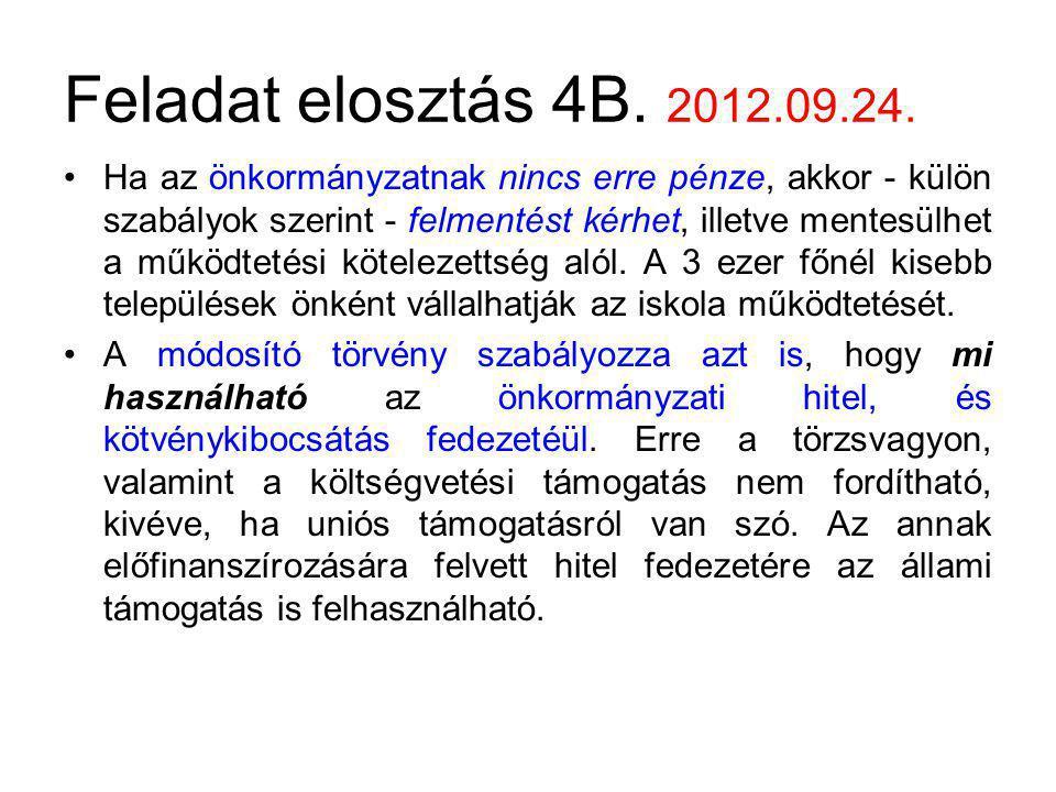 Feladat elosztás 4B. 2012.09.24.