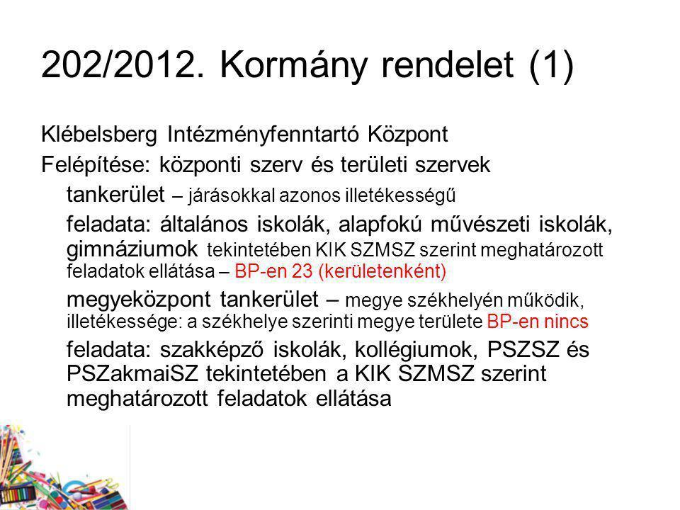 202/2012. Kormány rendelet (1) Klébelsberg Intézményfenntartó Központ