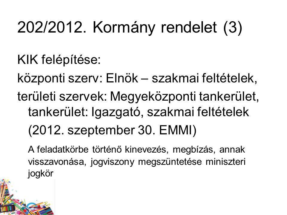 202/2012. Kormány rendelet (3) KIK felépítése: