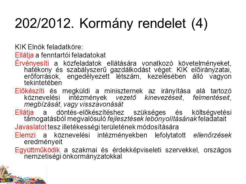 202/2012. Kormány rendelet (4) KIK Elnök feladatköre: