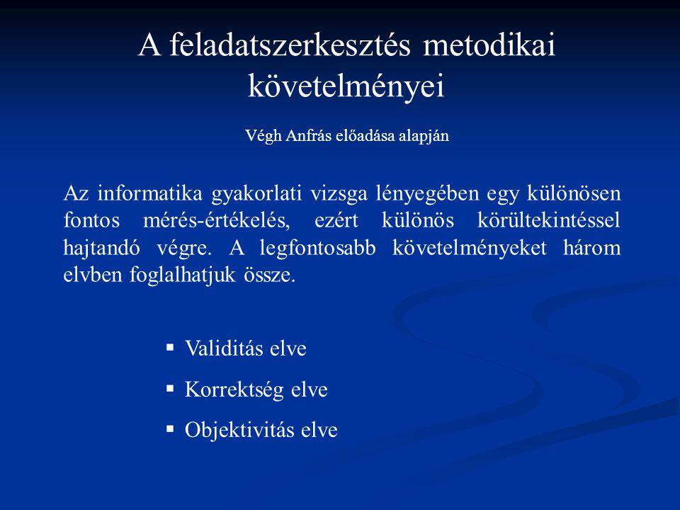 A feladatszerkesztés metodikai követelményei