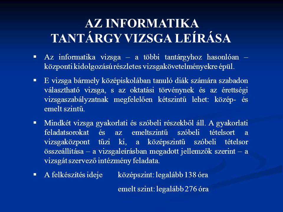 AZ INFORMATIKA TANTÁRGY VIZSGA LEÍRÁSA