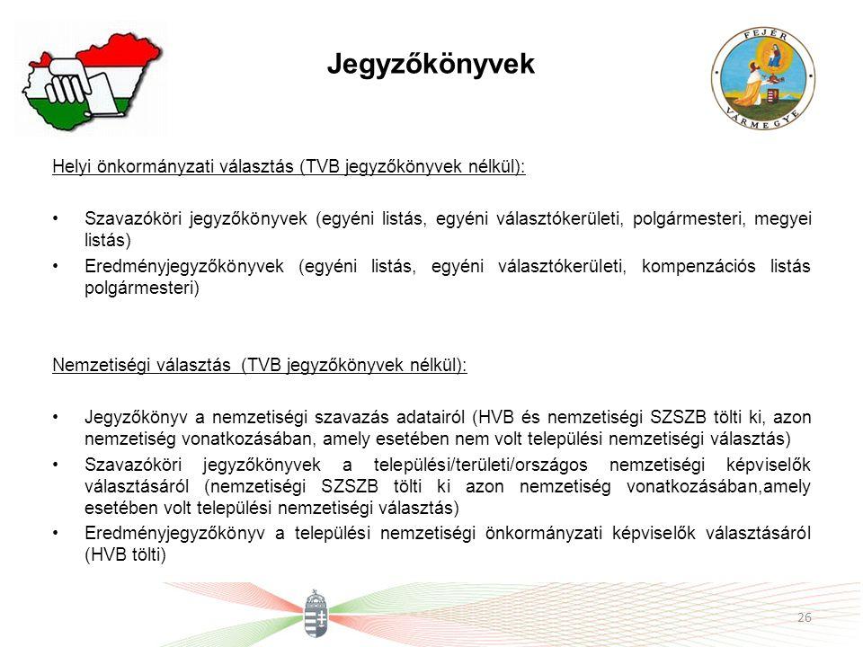 Jegyzőkönyvek Helyi önkormányzati választás (TVB jegyzőkönyvek nélkül):