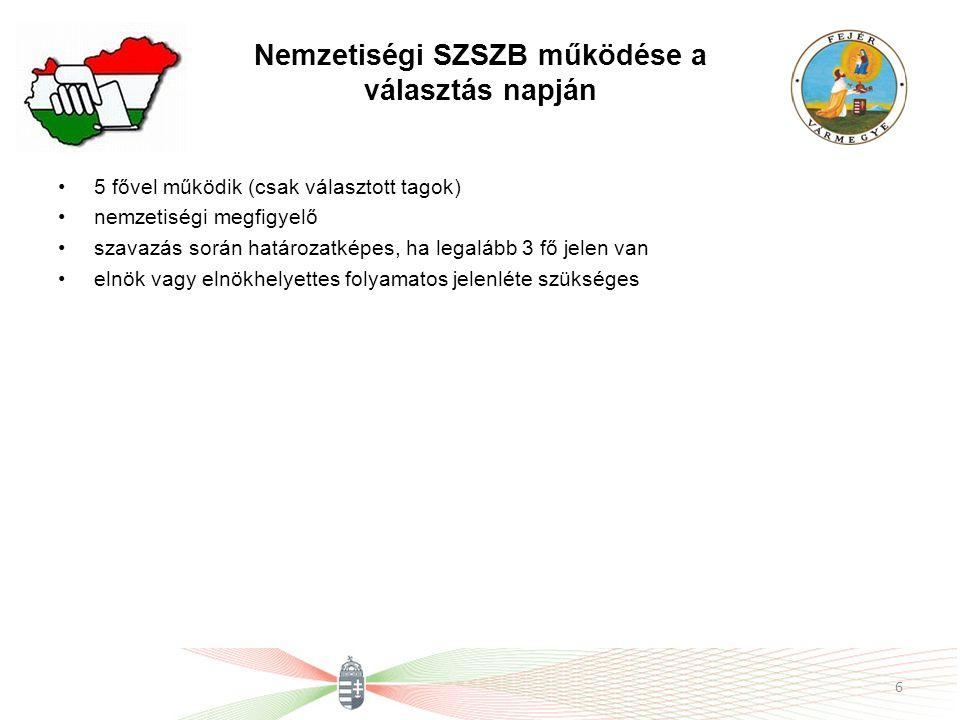 Nemzetiségi SZSZB működése a választás napján