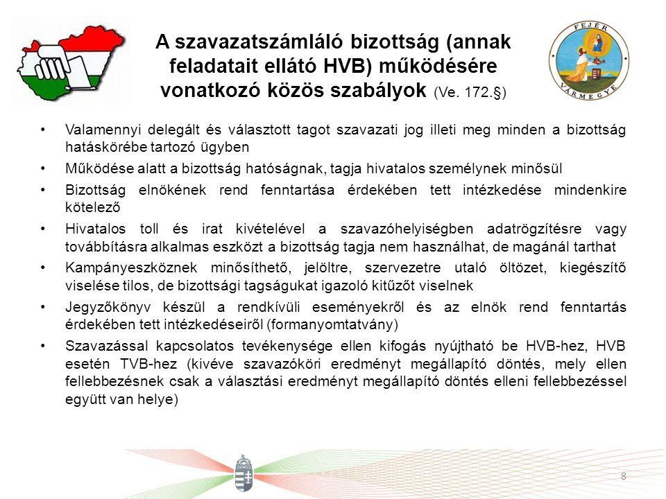 A szavazatszámláló bizottság (annak feladatait ellátó HVB) működésére vonatkozó közös szabályok (Ve. 172.§)