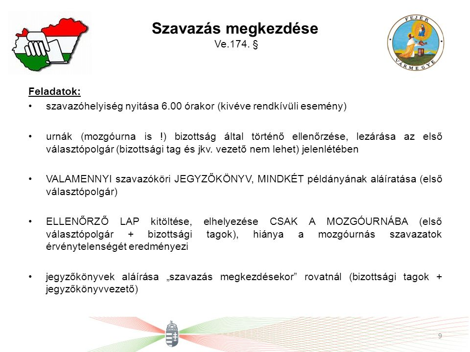 Szavazás megkezdése Ve.174. §