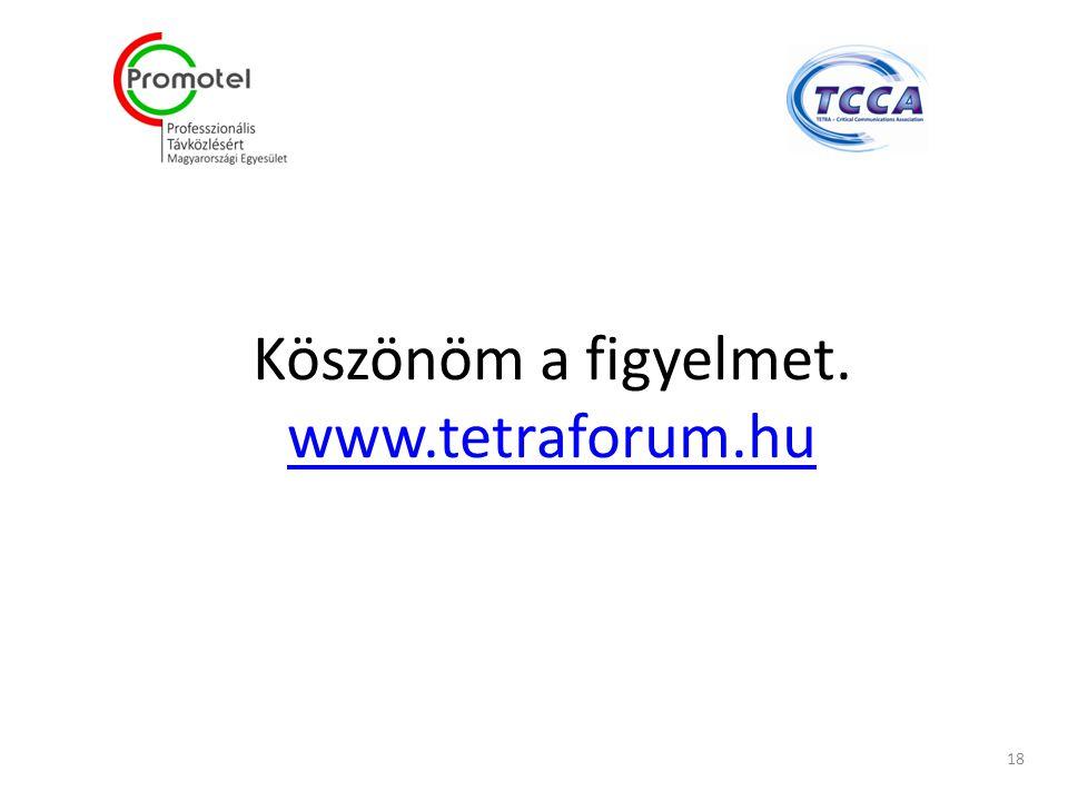 Köszönöm a figyelmet. www.tetraforum.hu