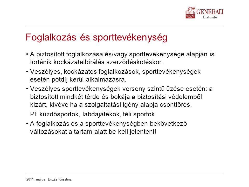 Foglalkozás és sporttevékenység