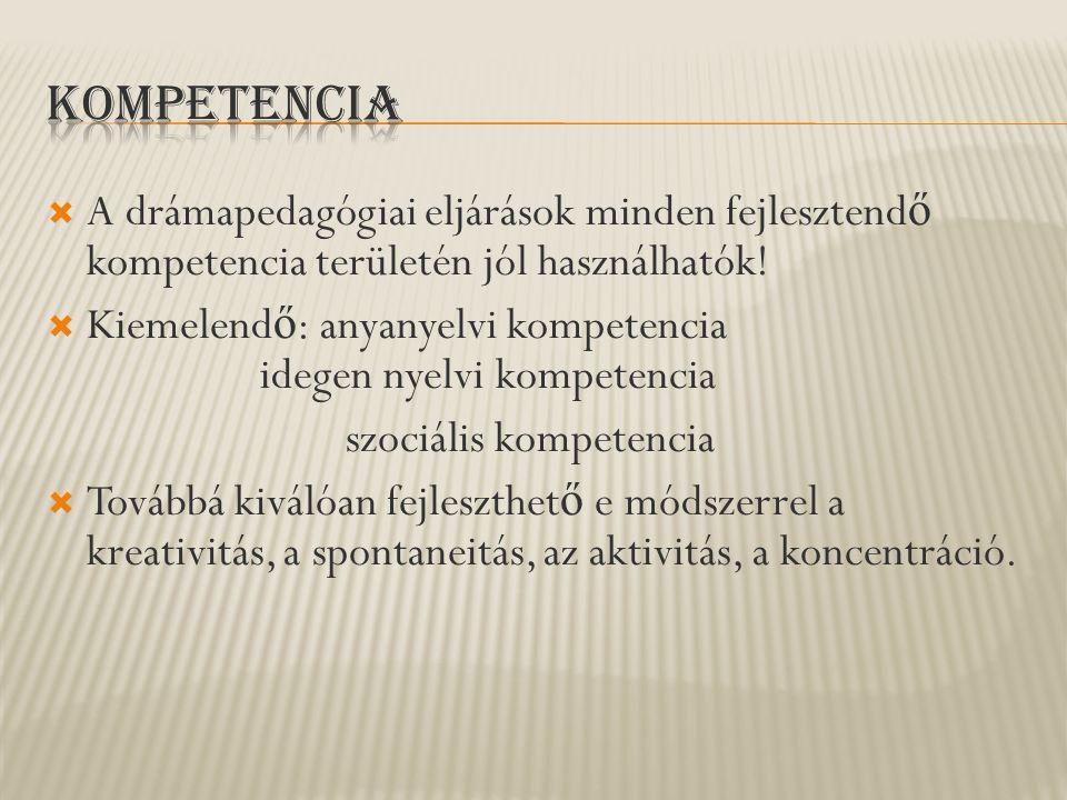 Kompetencia A drámapedagógiai eljárások minden fejlesztendő kompetencia területén jól használhatók!