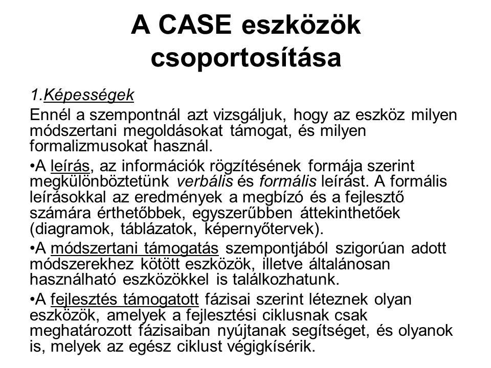 A CASE eszközök csoportosítása