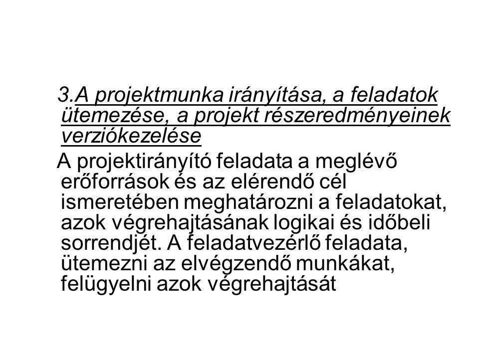 A projektmunka irányítása, a feladatok ütemezése, a projekt részeredményeinek verziókezelése