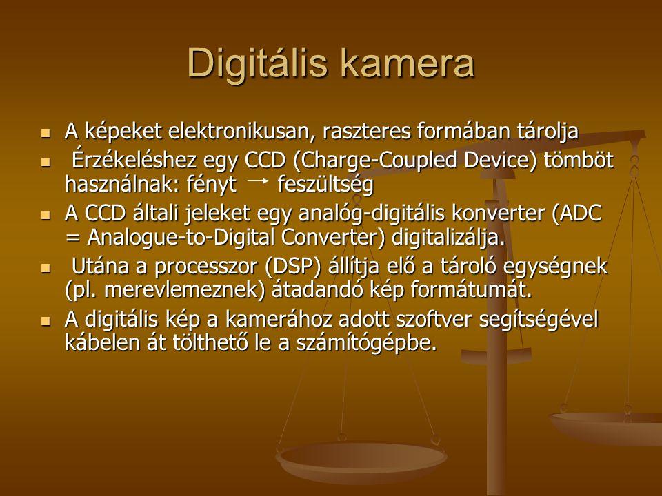 Digitális kamera A képeket elektronikusan, raszteres formában tárolja