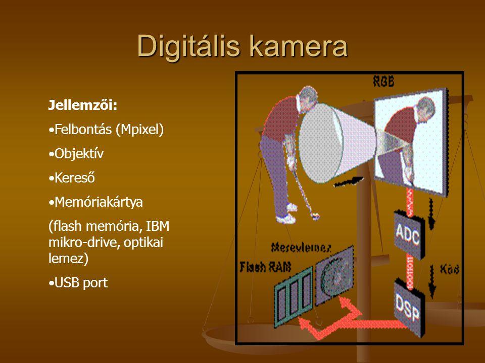 Digitális kamera Jellemzői: Felbontás (Mpixel) Objektív Kereső