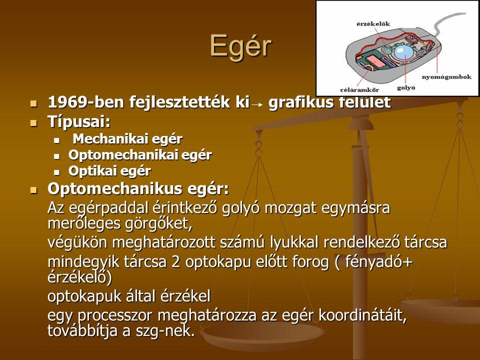 Egér 1969-ben fejlesztették ki grafikus felület Típusai: