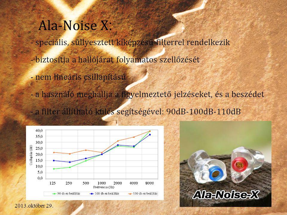 Ala-Noise X: - speciális, süllyesztett kiképzésű filterrel rendelkezik