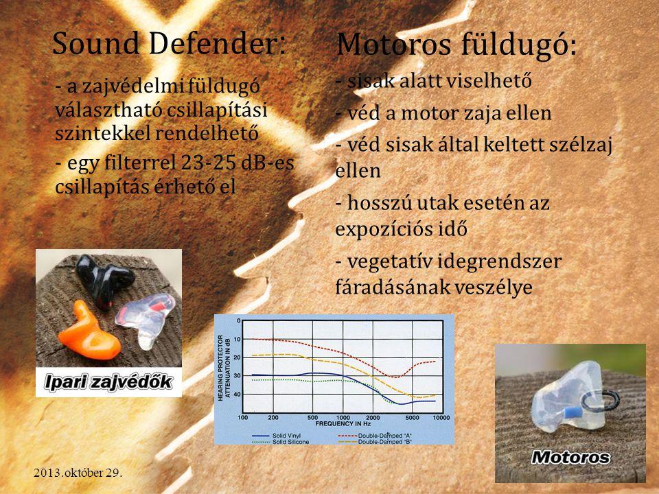 Sound Defender: Motoros füldugó: - sisak alatt viselhető