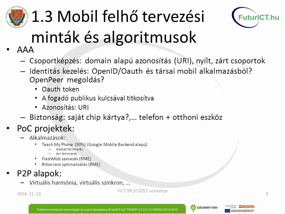 1.3 Mobil felhő tervezési minták és algoritmusok
