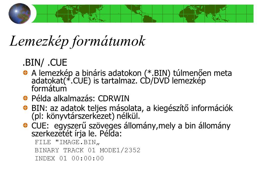 Lemezkép formátumok .BIN/ .CUE