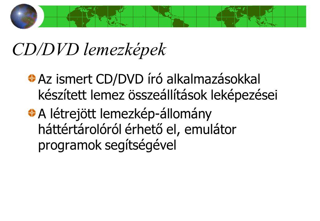 CD/DVD lemezképek Az ismert CD/DVD író alkalmazásokkal készített lemez összeállítások leképezései.