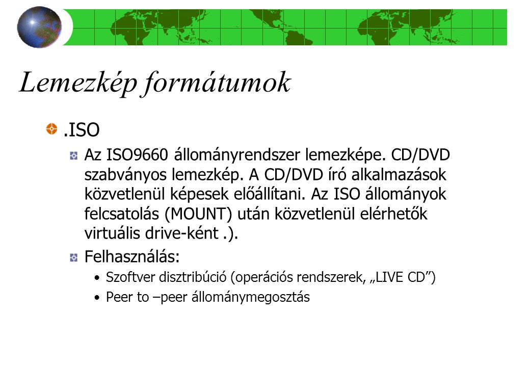Lemezkép formátumok .ISO