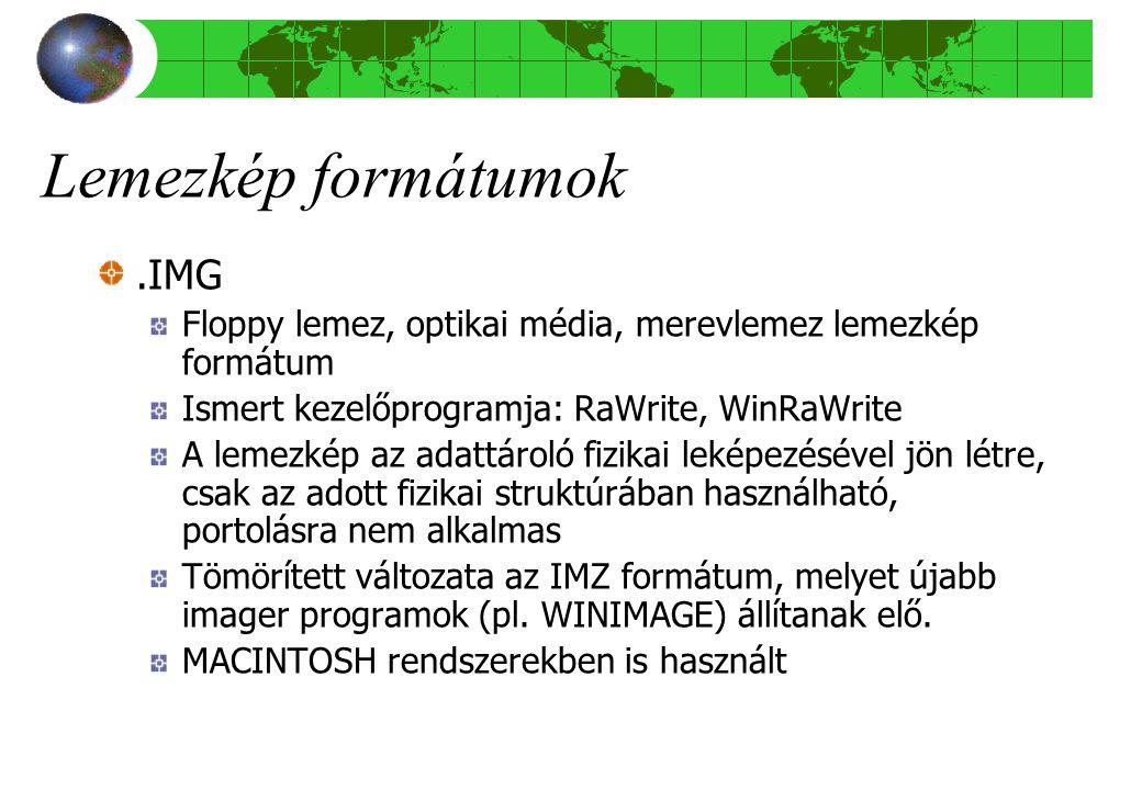 Lemezkép formátumok .IMG