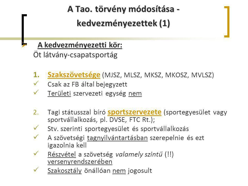 A Tao. törvény módosítása - kedvezményezettek (1)