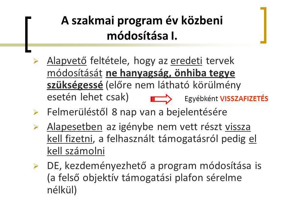 A szakmai program év közbeni módosítása I.