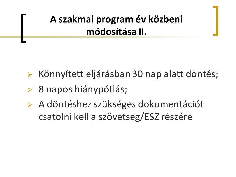 A szakmai program év közbeni módosítása II.