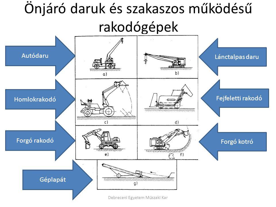Önjáró daruk és szakaszos működésű rakodógépek