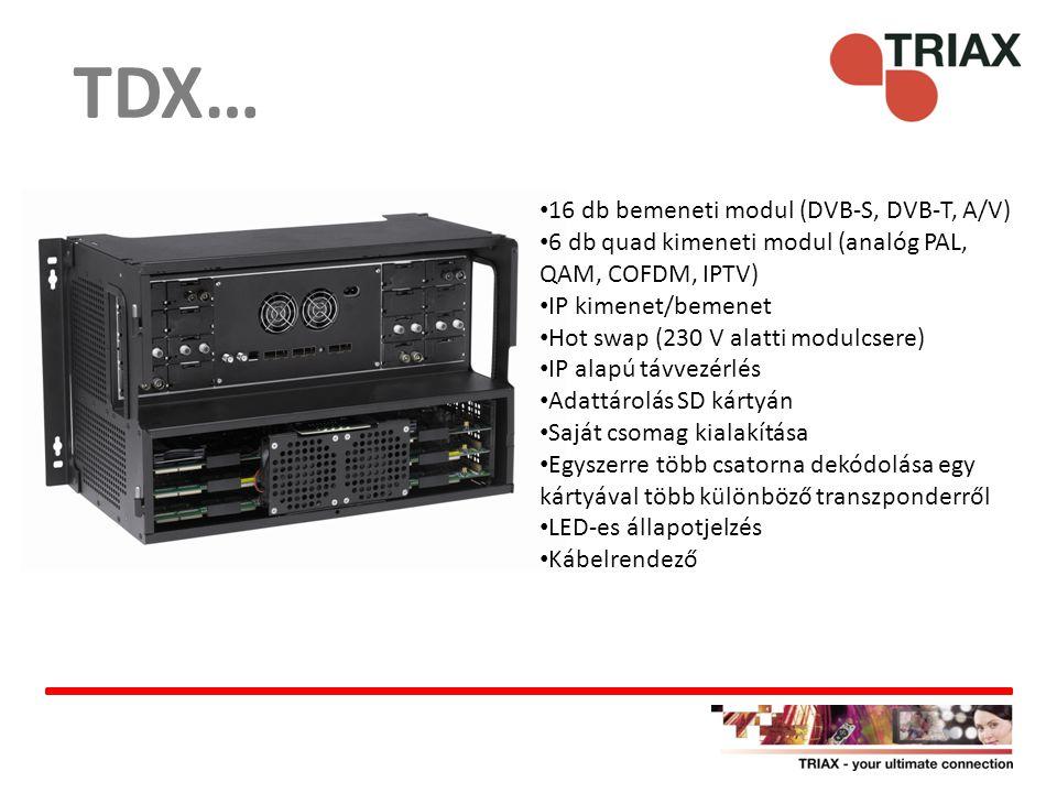 TDX… 16 db bemeneti modul (DVB-S, DVB-T, A/V)