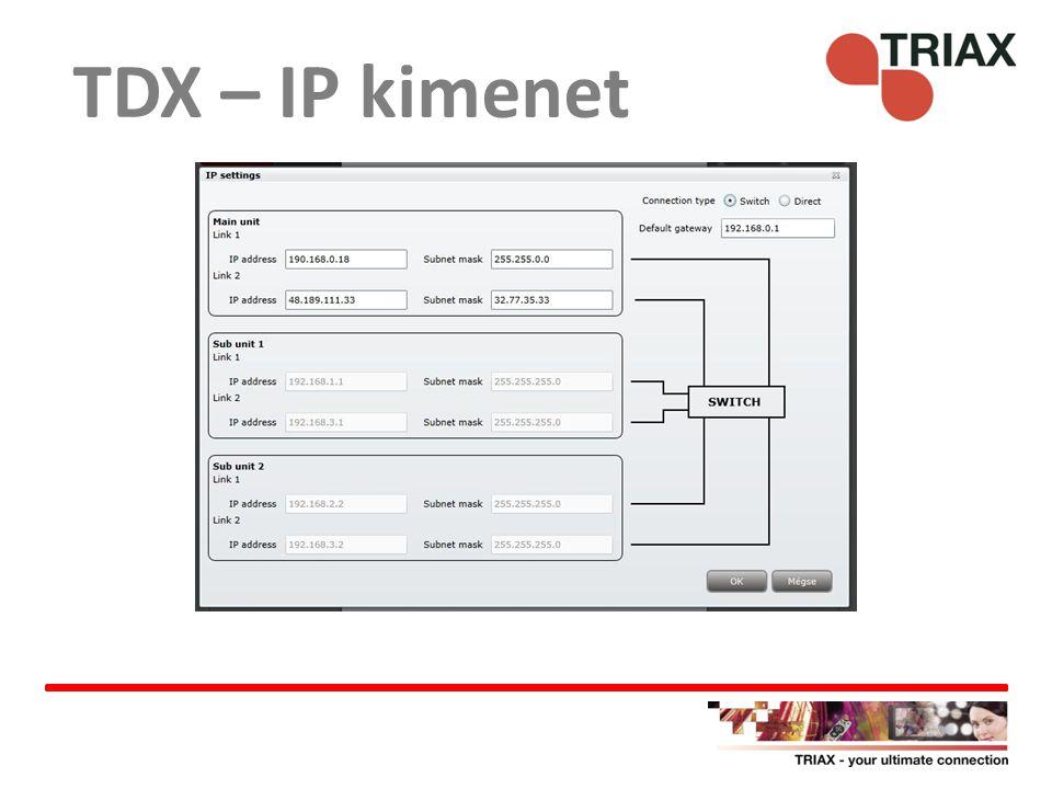 TDX – IP kimenet