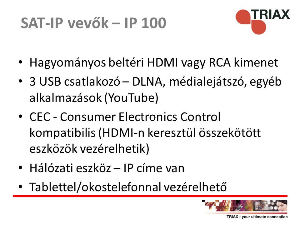 SAT-IP vevők – IP 100 Hagyományos beltéri HDMI vagy RCA kimenet