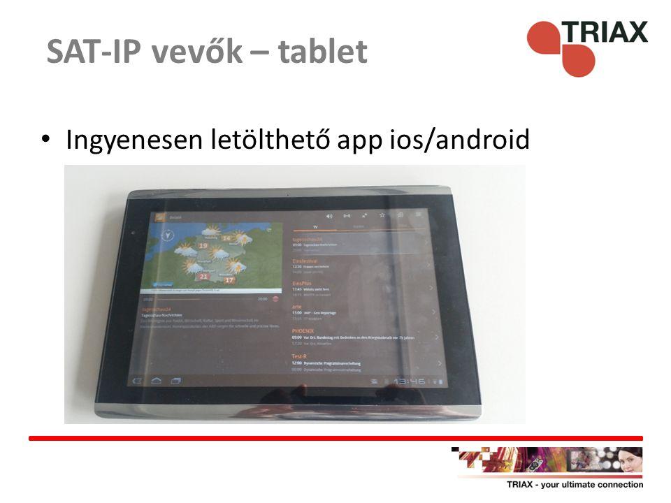 SAT-IP vevők – tablet Ingyenesen letölthető app ios/android