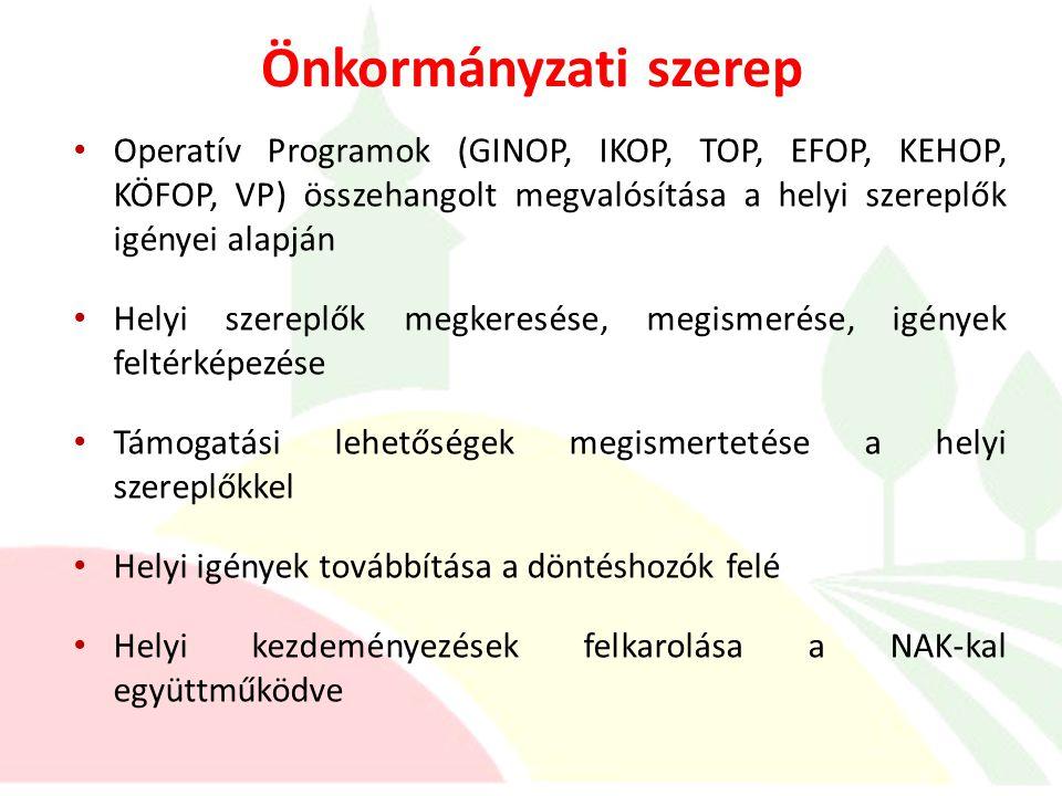 Önkormányzati szerep Operatív Programok (GINOP, IKOP, TOP, EFOP, KEHOP, KÖFOP, VP) összehangolt megvalósítása a helyi szereplők igényei alapján.