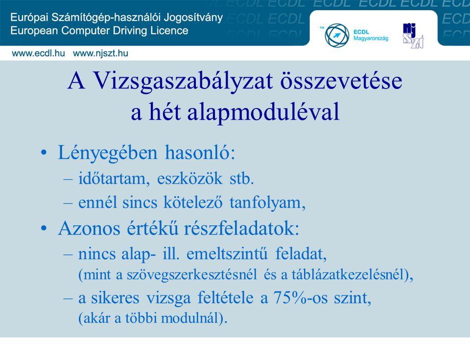 A Vizsgaszabályzat összevetése a hét alapmoduléval