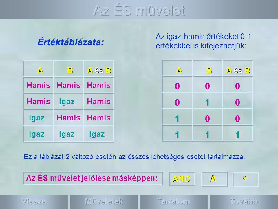 Az ÉS művelet Értéktáblázata: 1 1 1 * V AND